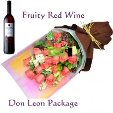 Birthday Flowers and Red Wine Package