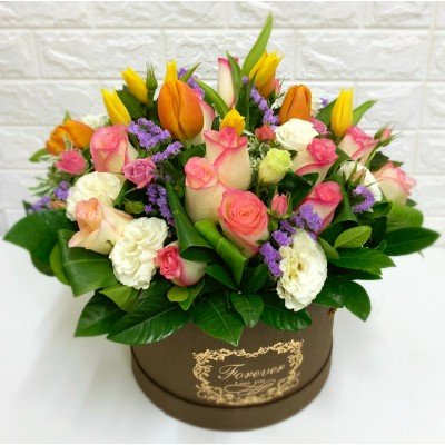 Pink Rose with Mix Color of Tulips in a Round Shape Gift Box